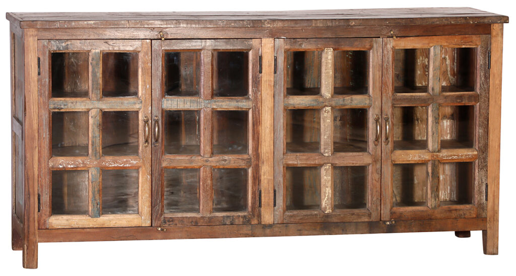 Reclaimed Wood Sideboard Cabinet with Glass Doors