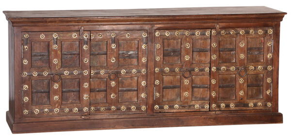 Large teak sideboard with metal brass color flowers