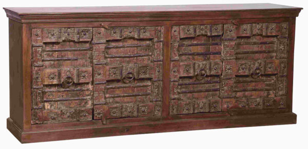 Large cabinet with 4 antique carved doors