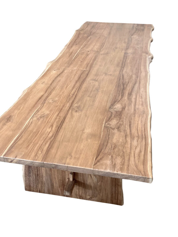 natural wood tone live edge dining table top view