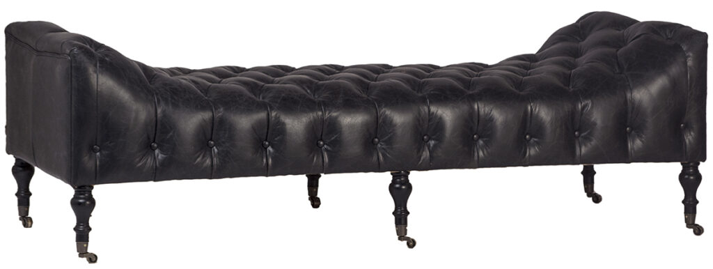 Black Top Grain Leather Daybed