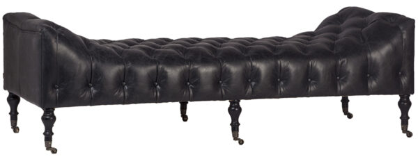 black leather tufted bench