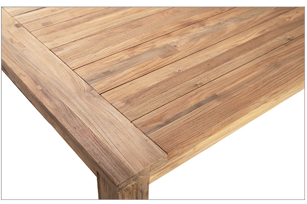 natural wood long dining table close up