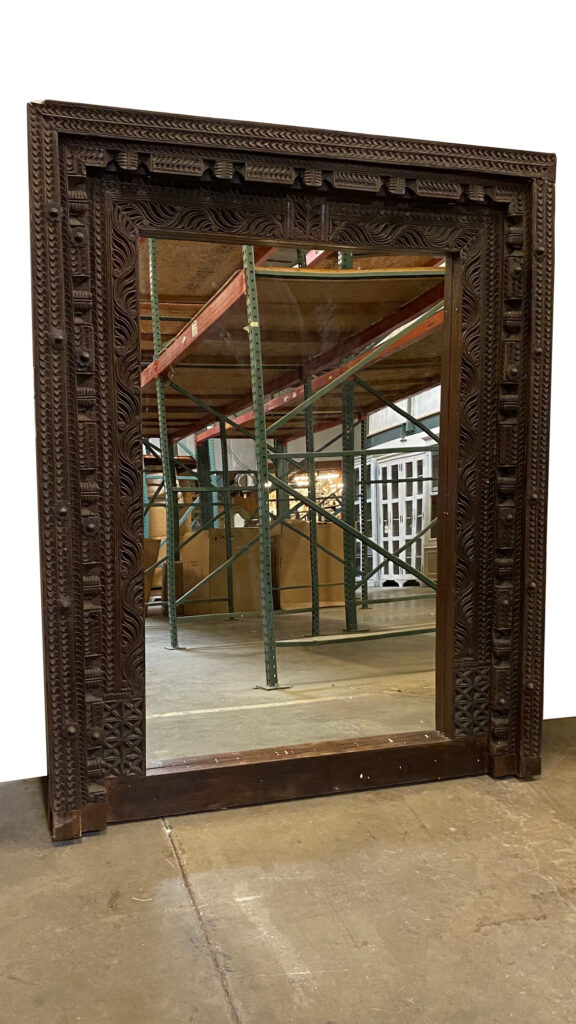Antique Indian Door Frame Teak Mirror