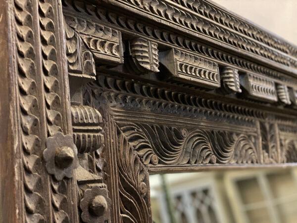 antique door frame tall mirror close up