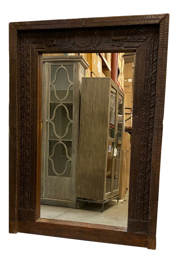 large teak door frame mirror