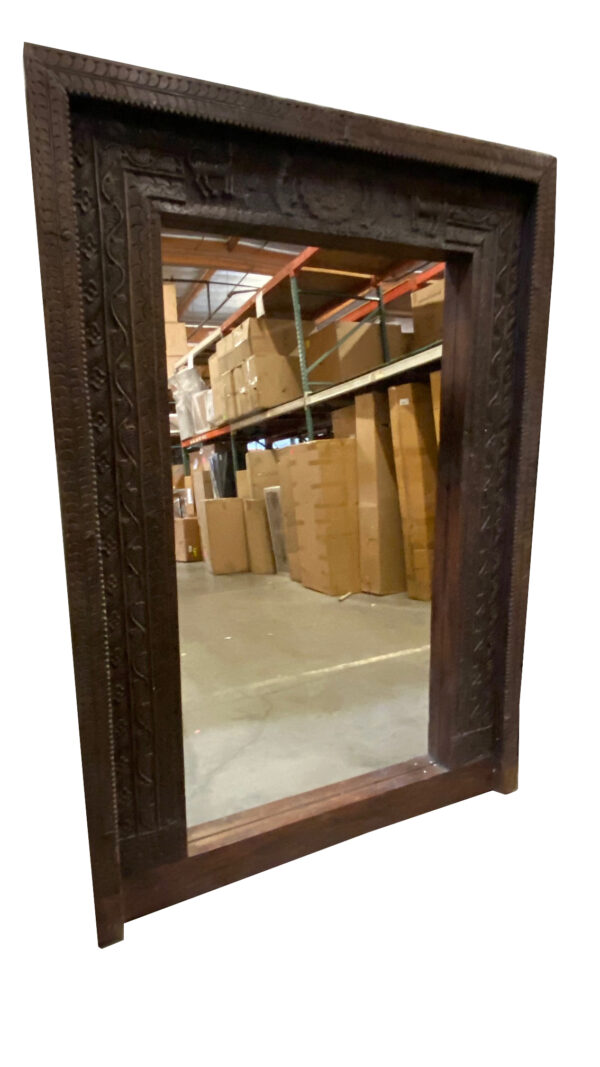 large teak door frame mirror side view