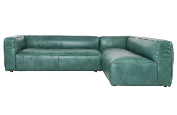 teal top grain leather sectional