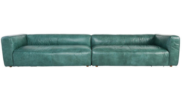 long teal top grain leather sofa