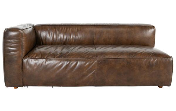 brown top grain leather left arm facing sofa