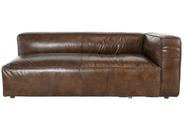 brown top grain leather right arm facing sofa