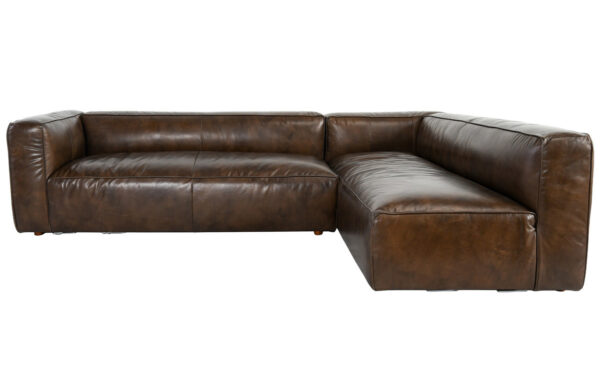 brown top grain leather sectional