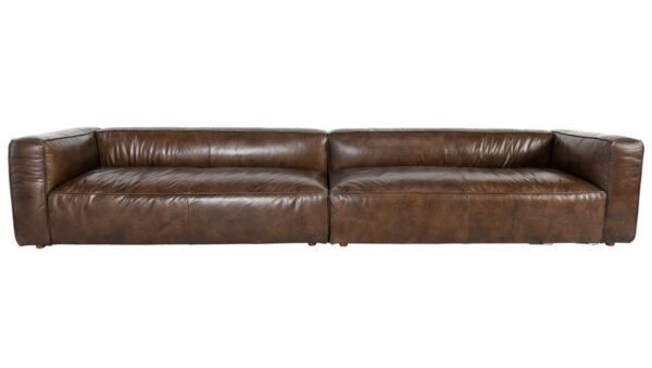 long brown top grain leather sofa