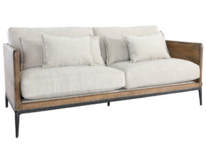 Renfrow Reclaimed Wood and Iron Ivory Sofa