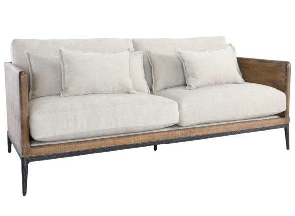 reclaimed wood and ivory upholstered sofa