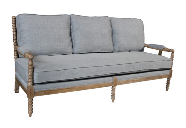 grey upholstered sofa with wood frame