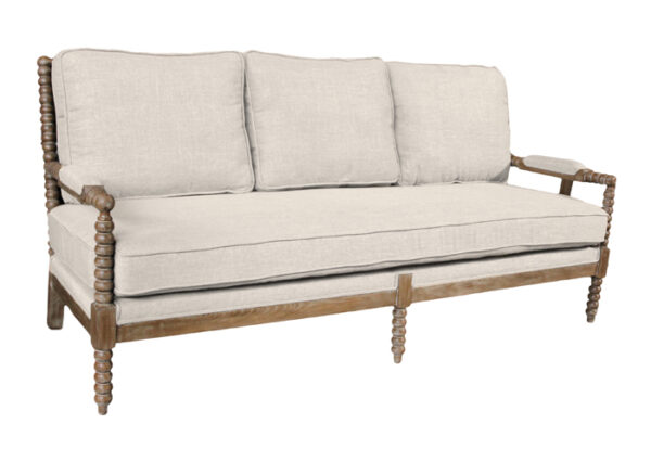 ivory upholstered sofa with wood frame
