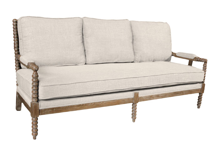 Ivory Linen Upholstered Sofa with Wood Spindled Frame