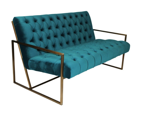 teal tufted sofa with brass legs