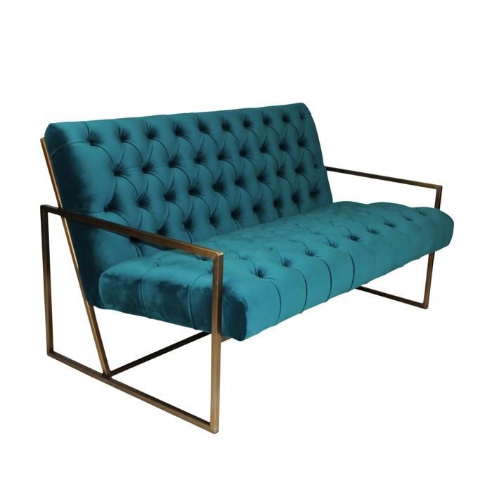 Teal Velvet Tufted Sofa with Brass Base