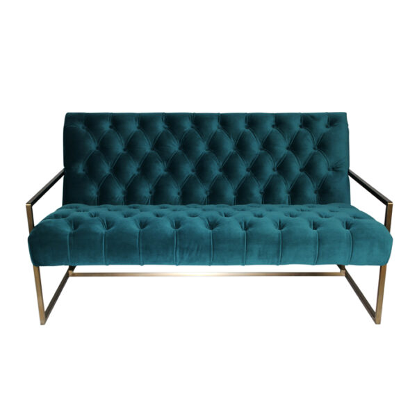 teal tufted sofa with brass legs front view