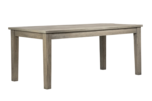 grey wood dining table corner view