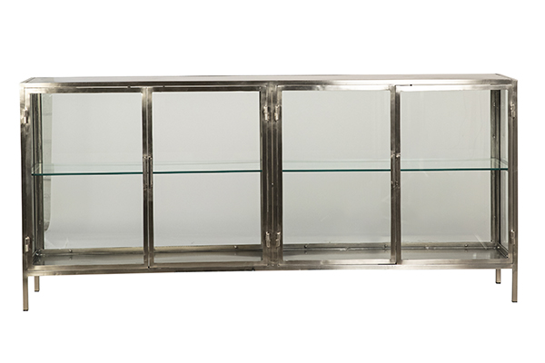 Silver iron and glass cabinet 4 doors front view