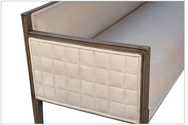 upholstered bench with wood frame side close up