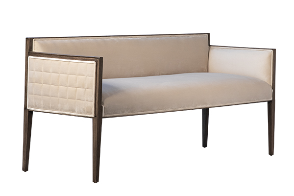 upholstered bench with wood frame side angle view