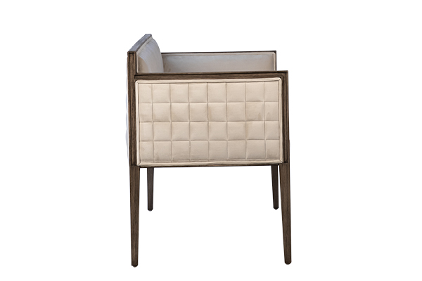 upholstered bench with wood frame side view