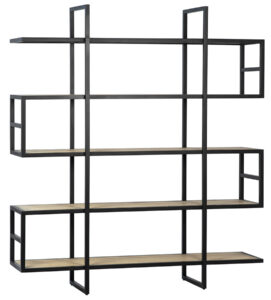 Gonzalo Metal and Oak Wood Tall Bookcase