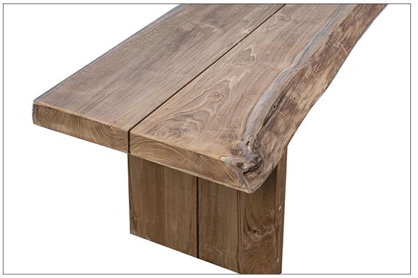long teak bench close up