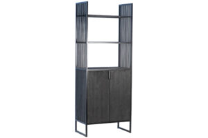 Helton Dark Wood and Iron Tall Cabinet