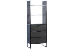 Tall Helton Wood and Iron Cabinet with Drawers