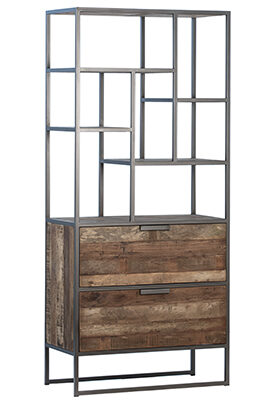 reclaimed wood and iron cabinet