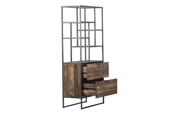 reclaimed wood and iron cabinet with open drawers