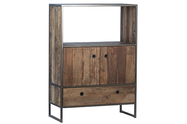 rustic wood and iron cabinet