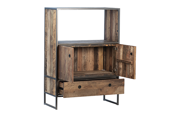 rustic wood and iron cabinet with open doors