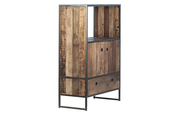 rustic wood and iron cabinet side view