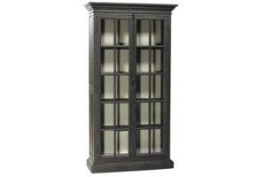Barnsley Tall Black Glass Cabinet