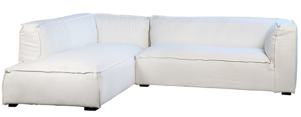 Basford L Shape White Slipcover Sectional