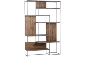 Addax Teak and Metal Tall Bookcase