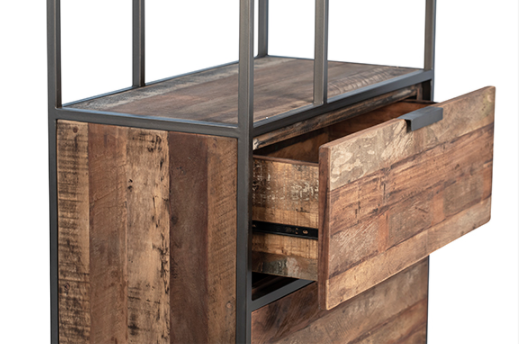 reclaimed wood and iron cabinet with open drawer