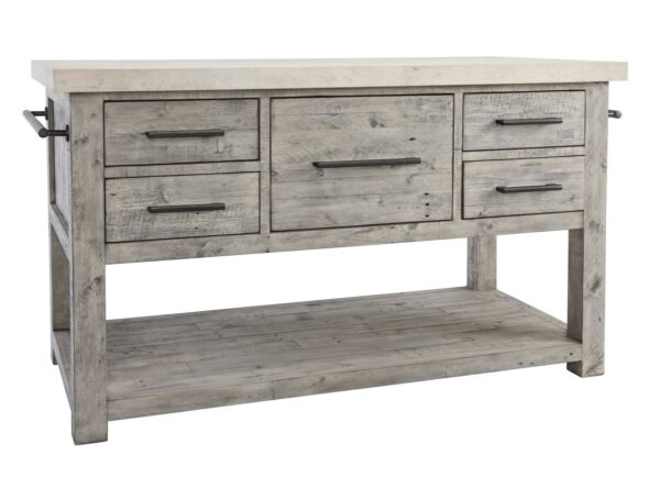 reclaimed wood and concrete top kitchen island