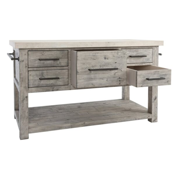 reclaimed wood and concrete top kitchen island with open drawers