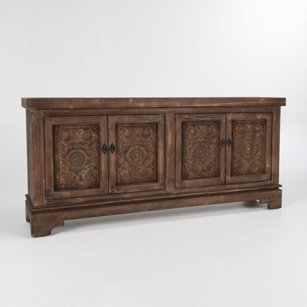 Amita Misty Mocha Carved Wood Sideboard