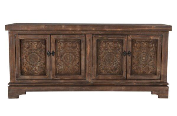 medium brown carved wood sideboard front view