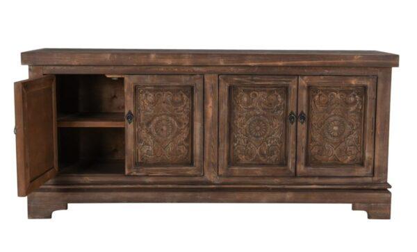 carved wood sideboard with open door