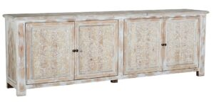 106″ Whitewash Hand Carved Wood Sideboard