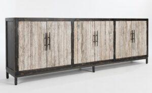 103″ Wood & Granite 6 door Sideboard Media Console